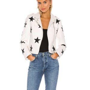 BLANKNYC Star Applique Faux Leather Moto Jacket